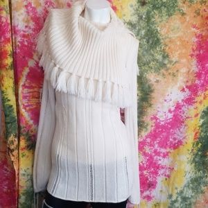 Escada tassle cowl sweater